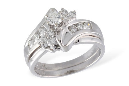 S7864W 14k White Gold Diamond Wedding Set