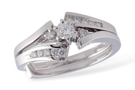 S7904W 14k White Gold Diamond Wedding Set