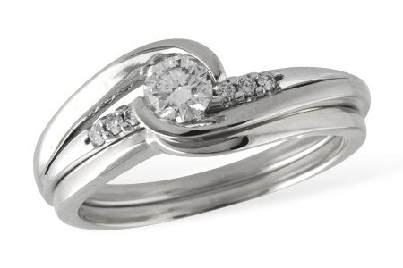 S8173W White Gold Wedding Set