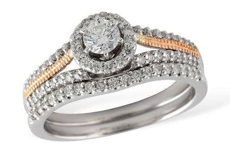 S8184 14k White gold and Rose gold wedding set