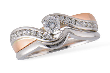 S8189T 14k White and Rose Gold Wedding Set