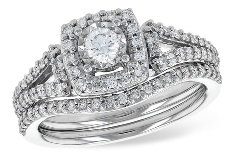 S8215 14k white gold Diamond wedding set