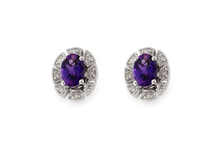 X18966W 14k White Gold Amethyst and Diamond Earrings