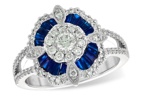 X20641W 14k White Gold and Sapphire Ring