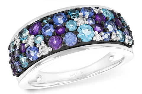 D5515 Blue Topaz Amethyst Tanzanite, and diamond ring.