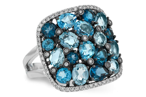 D5525 Blue Topaz in 14k White Gold Ring