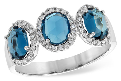 D5725 14k White Gold Blue Topaz Ring
