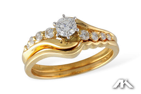 14k Yellow Gold Wedding Set S8084
