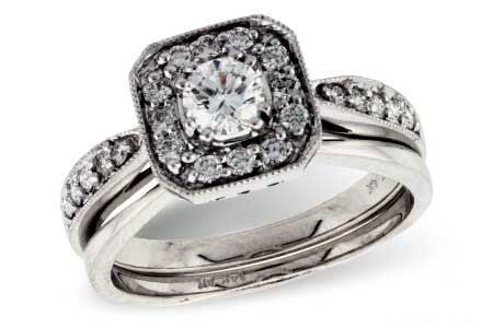 14k White Gold Wedding Set S7972