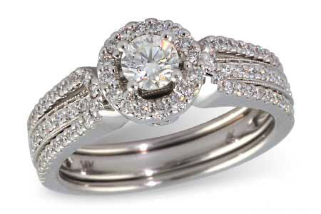 14k White Gold Wedding Set S8126