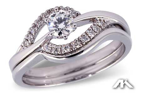 14k White Gold diamond wedding set s8120