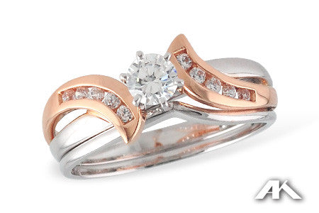 14k Two tone diamond wedding set S8148