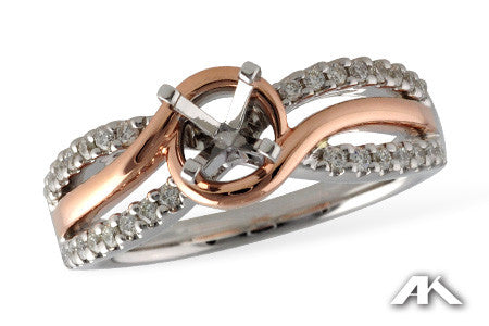 14k Two tone Rose & White Gold L7531