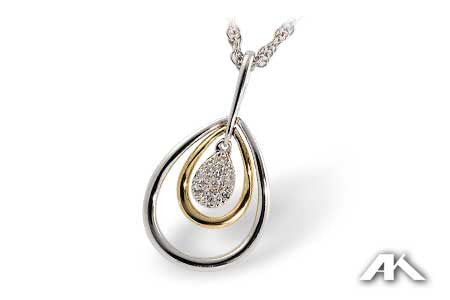14k Two Tone Diamond Pendant