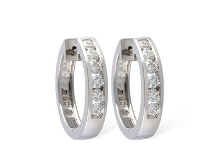 14k White Gold and Diamond Earrings ER100-1/2