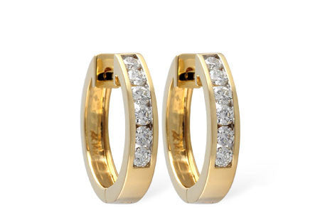 14k Yellow Gold and Diamond Earrings ER100-1/2