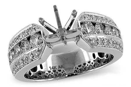 14k White Gold Semi Mount L7258