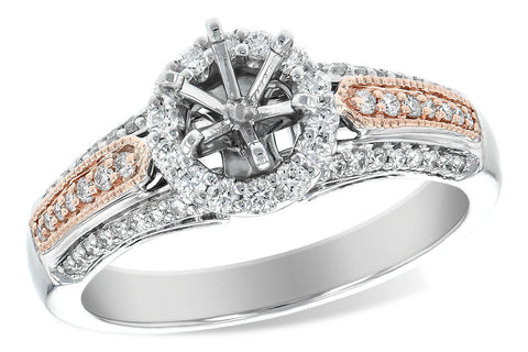 14k Rose & White Gold Semi Mount L7469