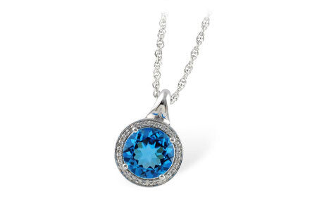 14k White Gold Diamond and Blue Topaz Pendant N7736