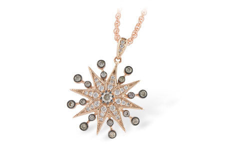 N7812 14k Rose gold and brown diamond pendant.