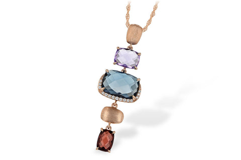 N7890 14k Rose Gold Blue Topaz and Amethyst Pendant