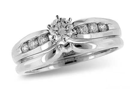 14k White Gold Wedding Set S8059