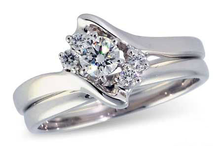 14k White Gold Wedding Set S8111