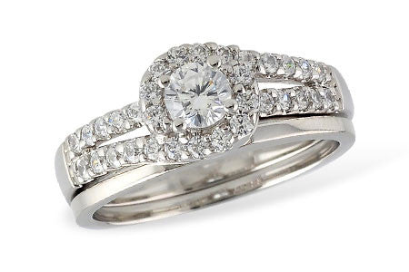 14k White Gold Wedding Set S8140
