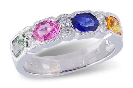 14k White Gold Sapphire Ring W1927