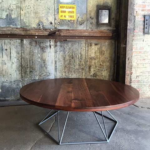 Modern Round Coffee Table wIth Hexagonal Steel Base