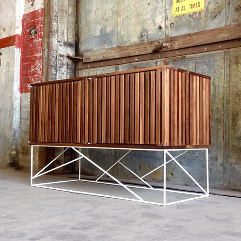 Walnut Open Slat Cabinet with Geometric Steel Base