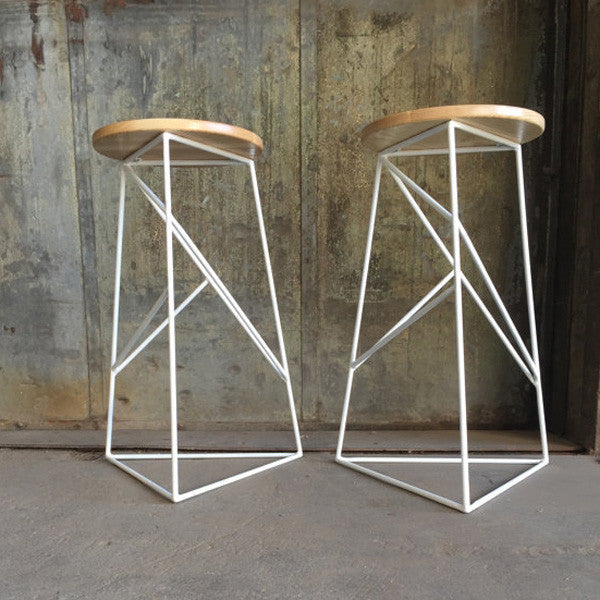 Short Modern Steel Stool with Solid Wood Seat