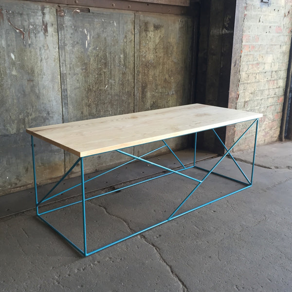 Modern Coffee Table with Solid Ash Top and Geometric Steel Base