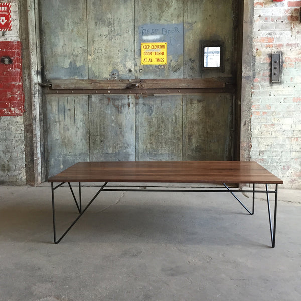 Coffee Table with Solid Walnut Top and Modern Steel Base