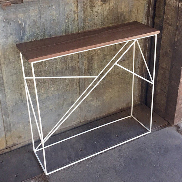 Modern Walnut Hall Table with Geometric Steel Base