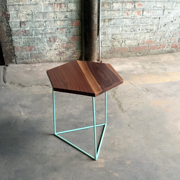 Modern Hexagon Walnut Side Table with Triangle Steel Base