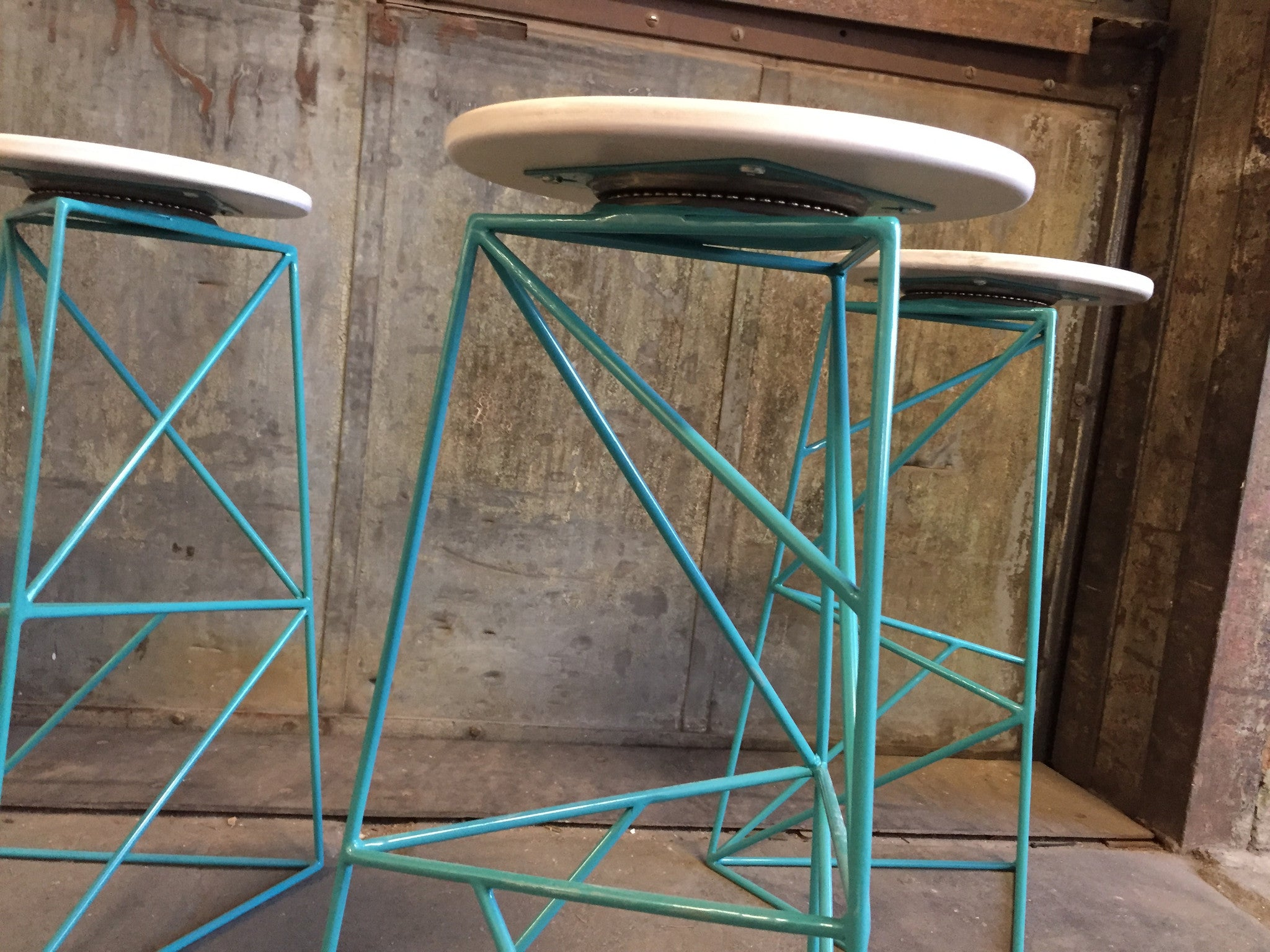 Modern Steel Swivel Stool with Grey Stained Ash Seat