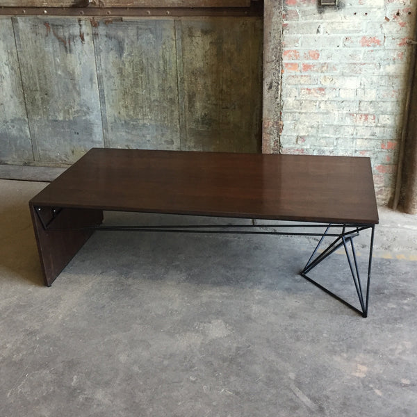 Solid Walnut Coffee Table with Sculptural Steel Base