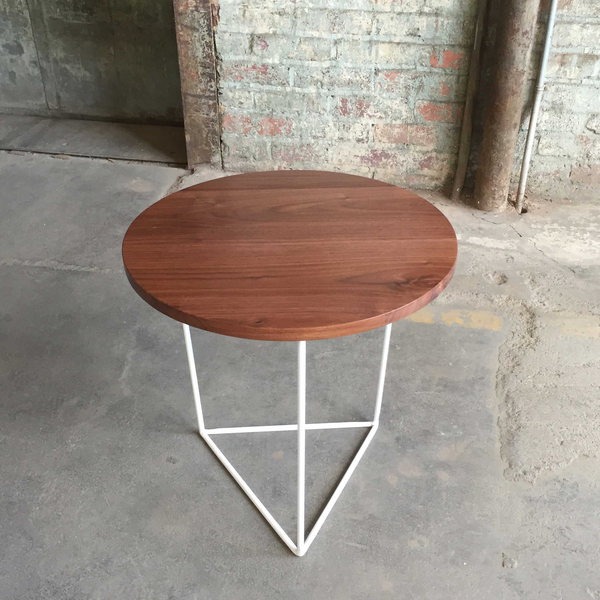 Modern Side Table with Round Walnut Top and Triangle Steel Base
