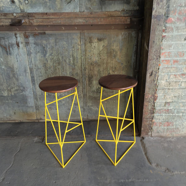Modern Steel Stool with Solid Wood Seat