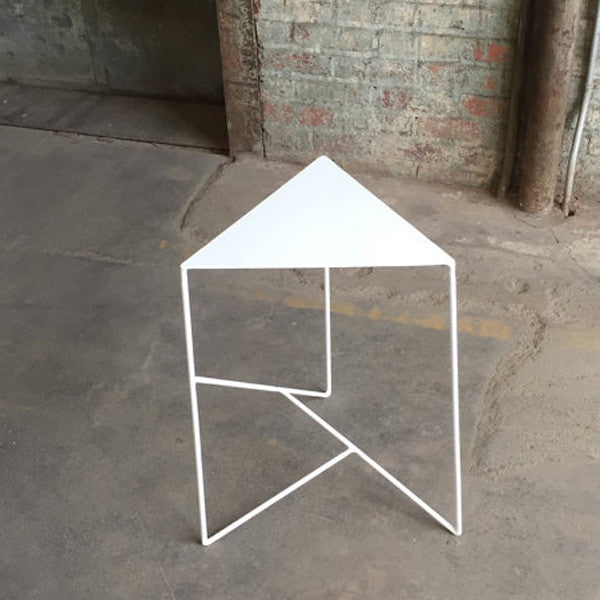 Modern Geometric Steel Side Table with Triangle Top