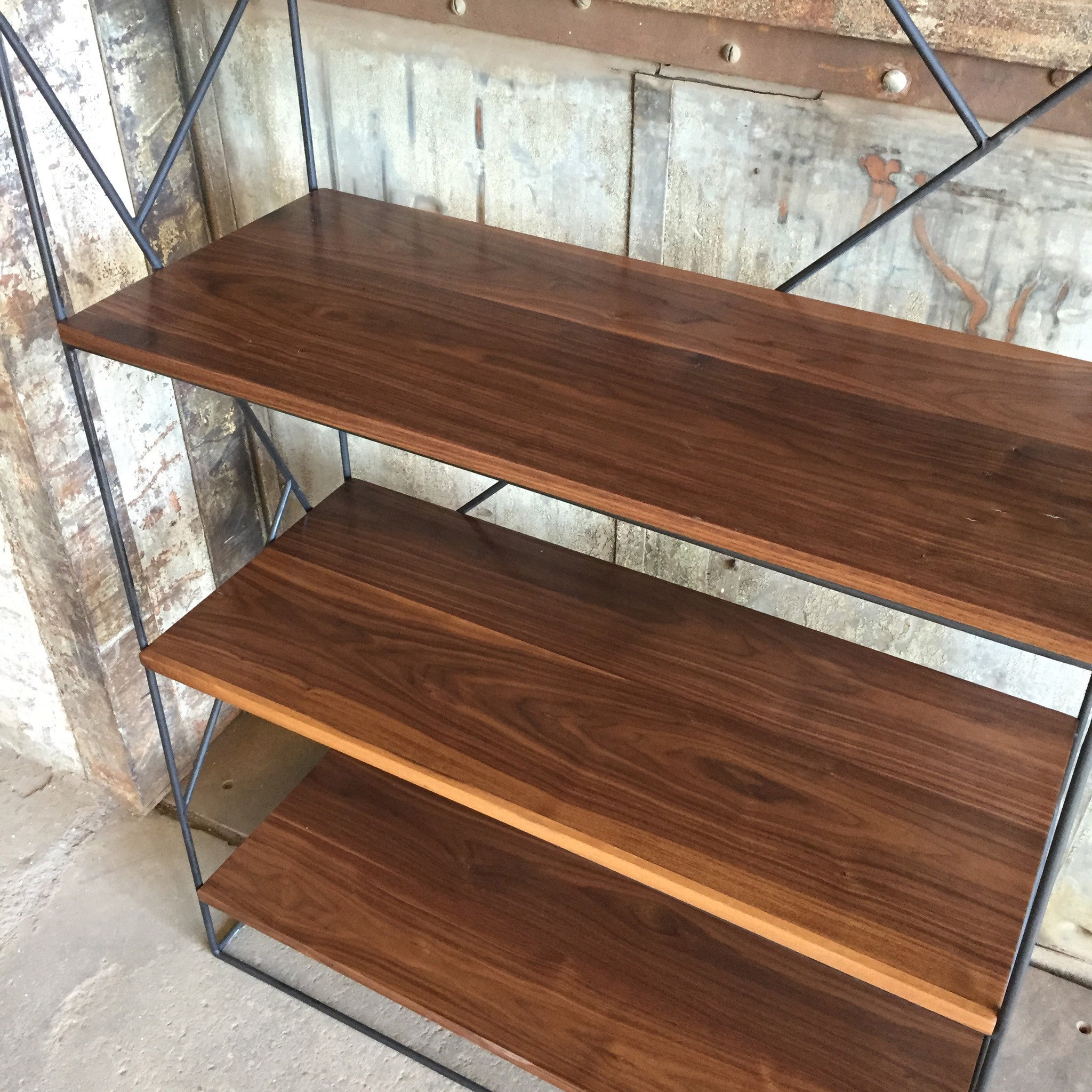 Modern Black Steel Bookcase with Solid Walnut Shelves