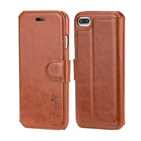 Zakix(TM) Leather Wallet Case For iPhone 7 Plus: Premium PU Leather Protective Case - Adequate Protection From Impacts With Ergonomic Design (BROWN)