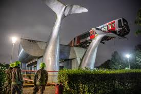 Train In Netherlands Saved From 10 Meter Drop By Giant Whale Art Installation After Crashing Through Barrier