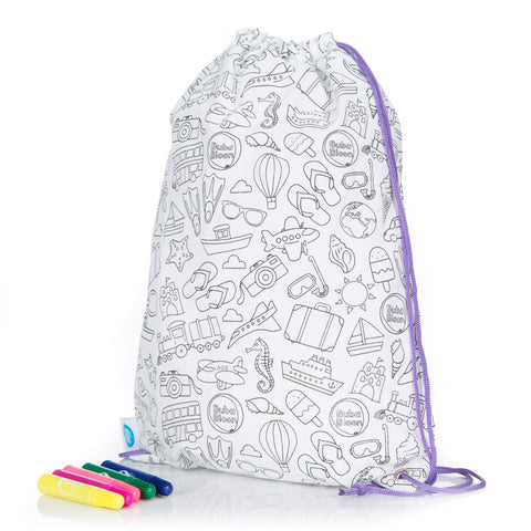 BubaBag Colour Your Own - Travel Design, Includes Markers