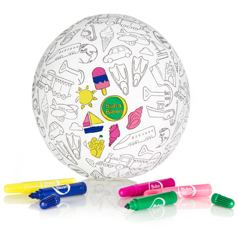 BubaBloon Colour Your Own - Travel Design, Includes Markers