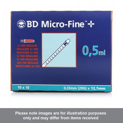 BD Microfine Insulin Syringes U100 0.5ml 29g 12.7mm