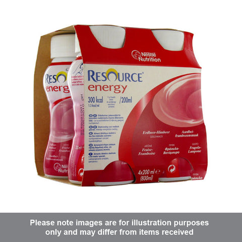 Nestle Resource Energy Strawberry/Raspberry Flavour 200ml Pack of 4