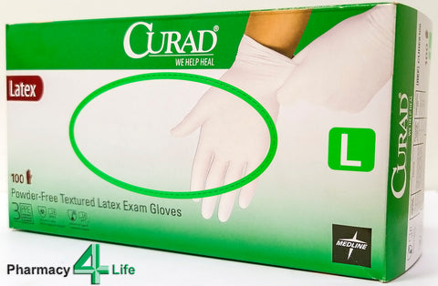 MEDLINE CURAD LATEX POWDER FREE GLOVES LARGE - Box of 100