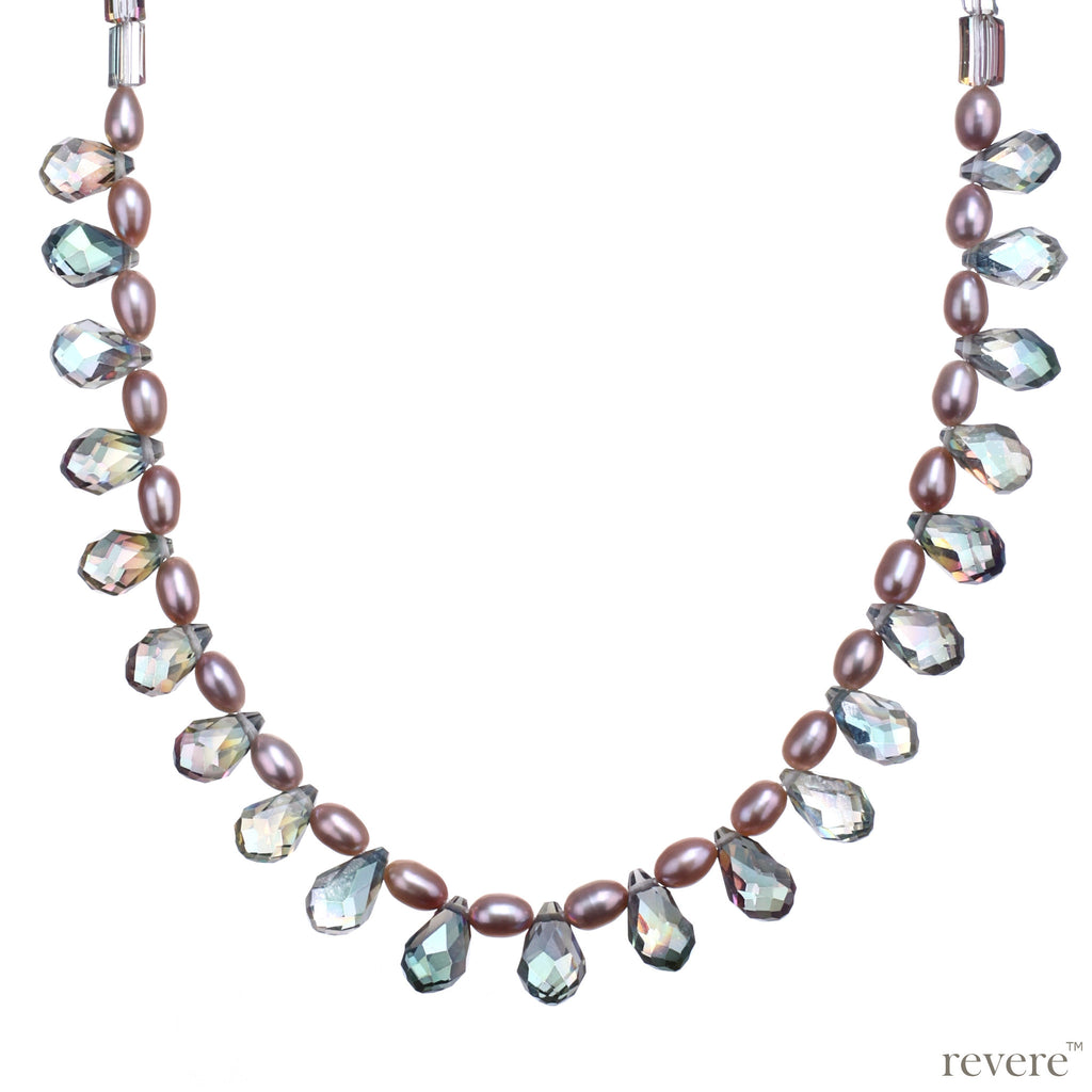 carnival pink pearl necklace with rainbow crystal for evening wear and fun occasions